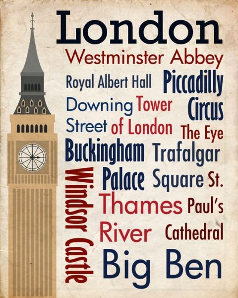 Sights of London Travel Poster