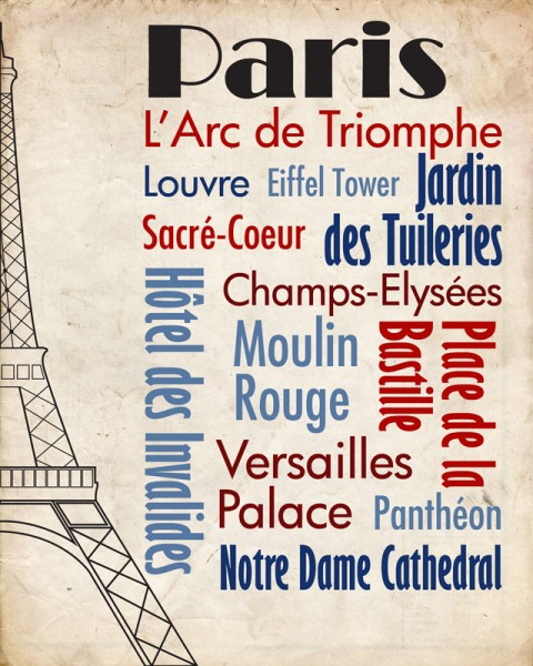 Sights of Paris Travel Poster