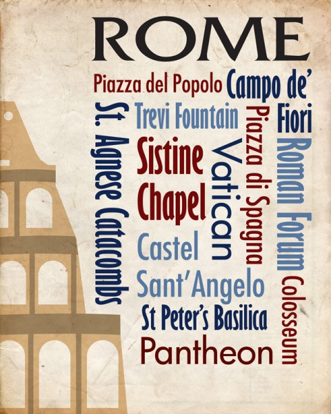 Sights of Rome Travel Poster