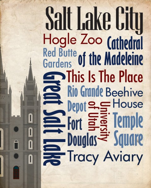 Sights of Salt Lake City Travel Poster
