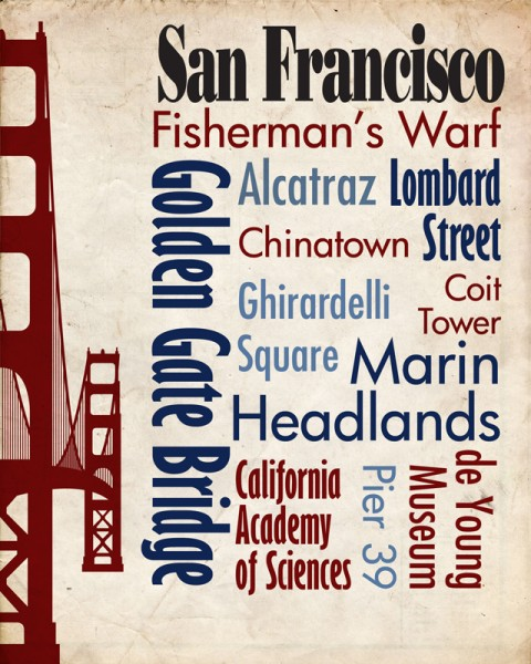 Sights of San Francisco Travel Poster