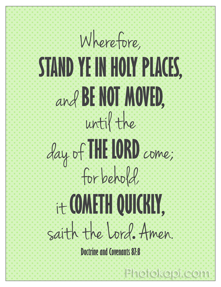 Stand Ye in Holy Places in Green