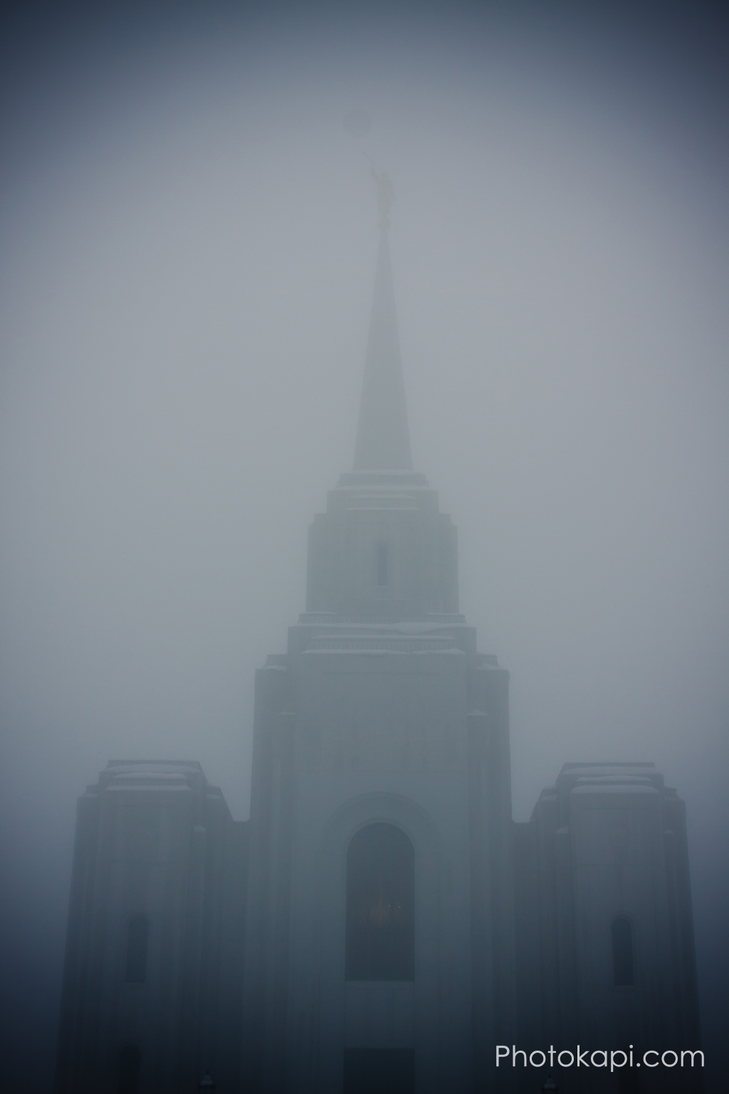 Brigham City Temple in the Fog
