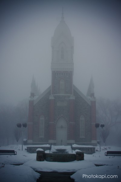 Brigham City Tabernacle in the Fog
