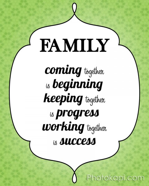 Family: Coming together is beginning