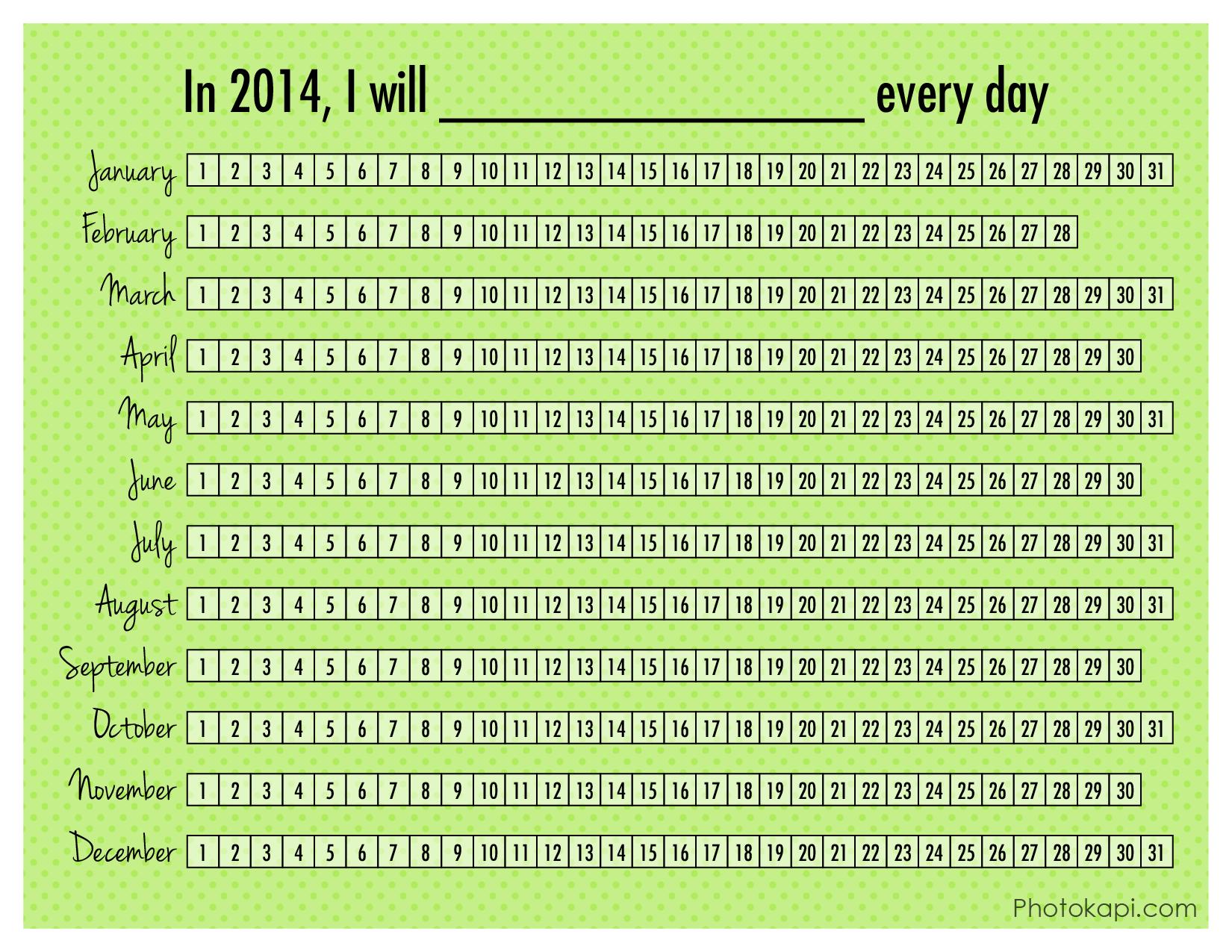 2014 Daily Goal Calendar