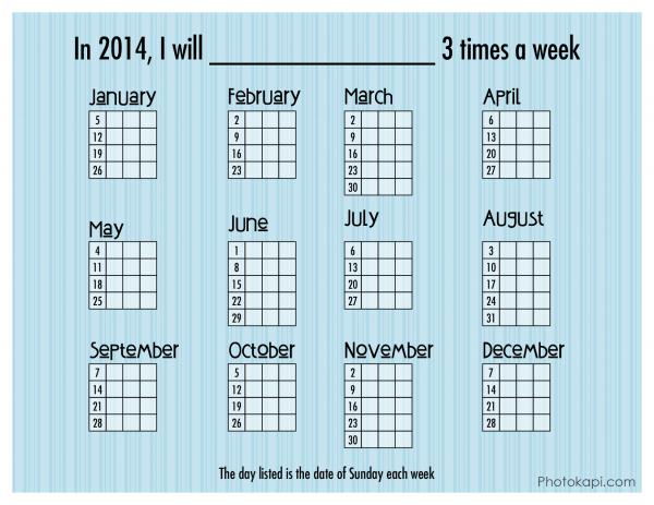 2014 3 times a week Goal Calendar