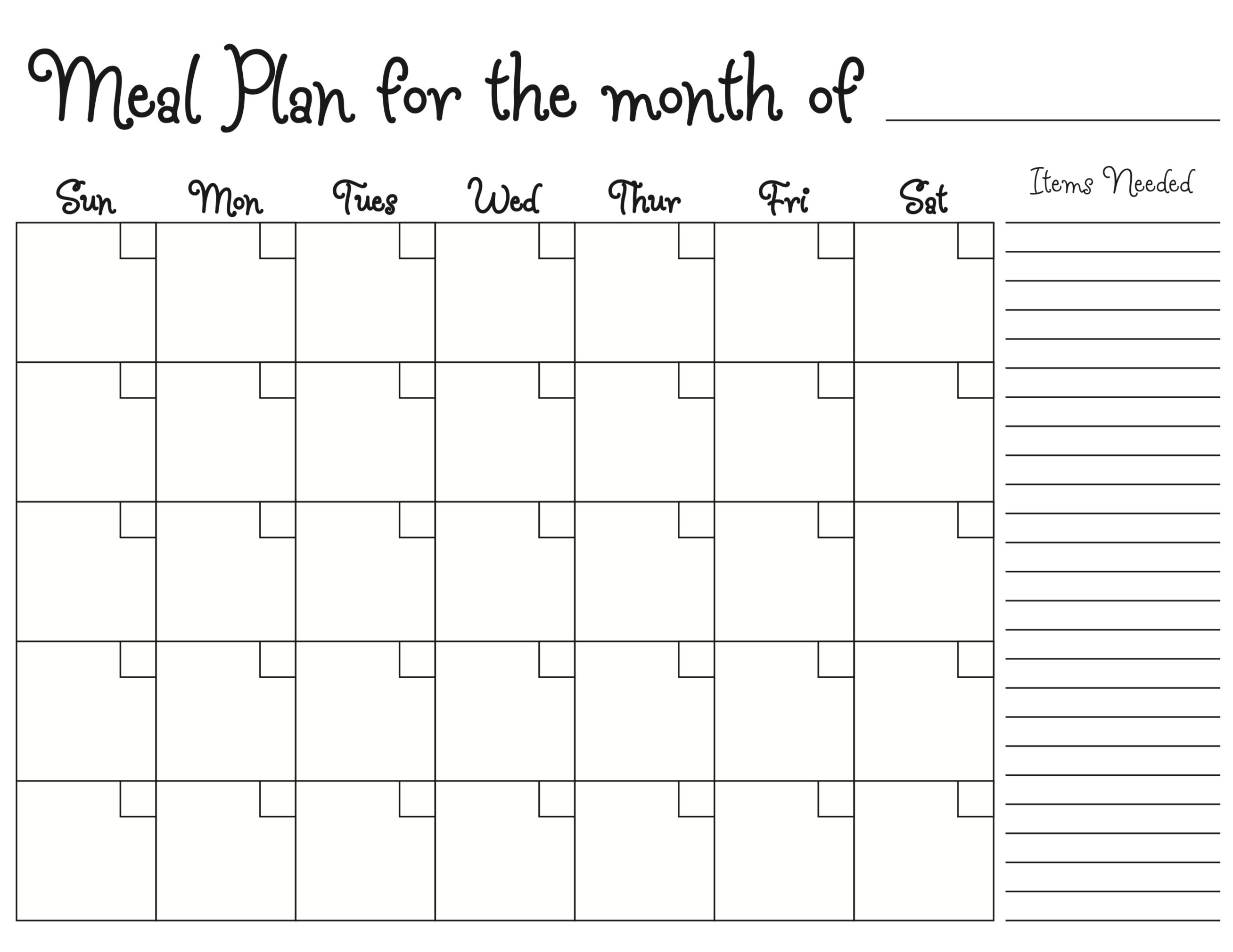 Meal Planning Calendar – Photokapi.com