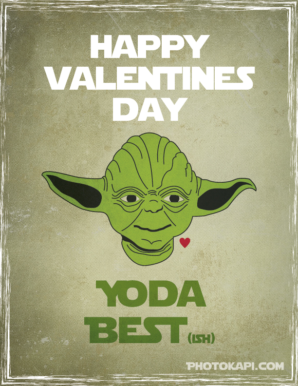 Printable Star Wars Valentines - Yoda | Photokapi.com