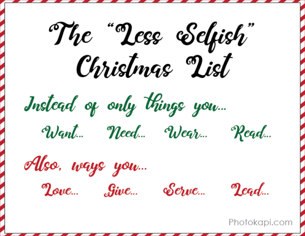 Less Selfish Christmas List | Photokapi.com