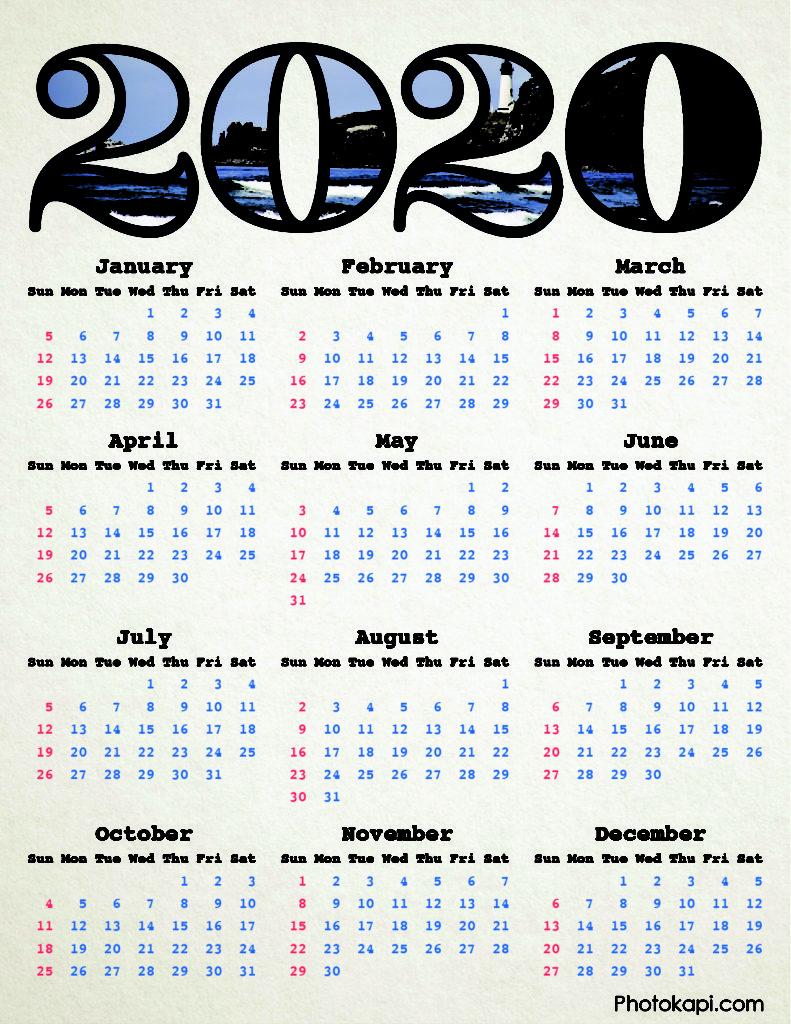 2020 Calendar Lighthouse | Photokapi.com