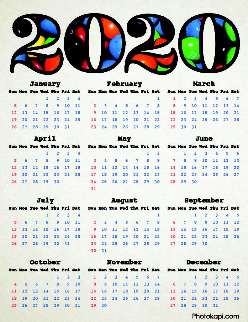 2020 Calendar Candy | Photokapi.com