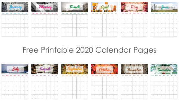 Free Printable 2020 Calendar Pages | Photokapi.com