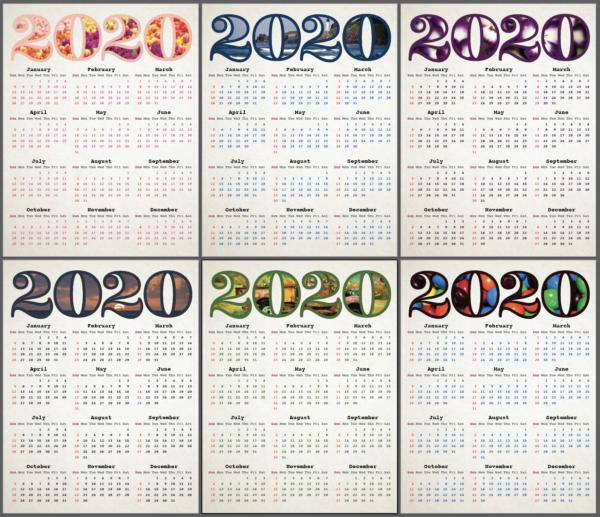 2020 Calendar Thumbnails | Photokapi.com