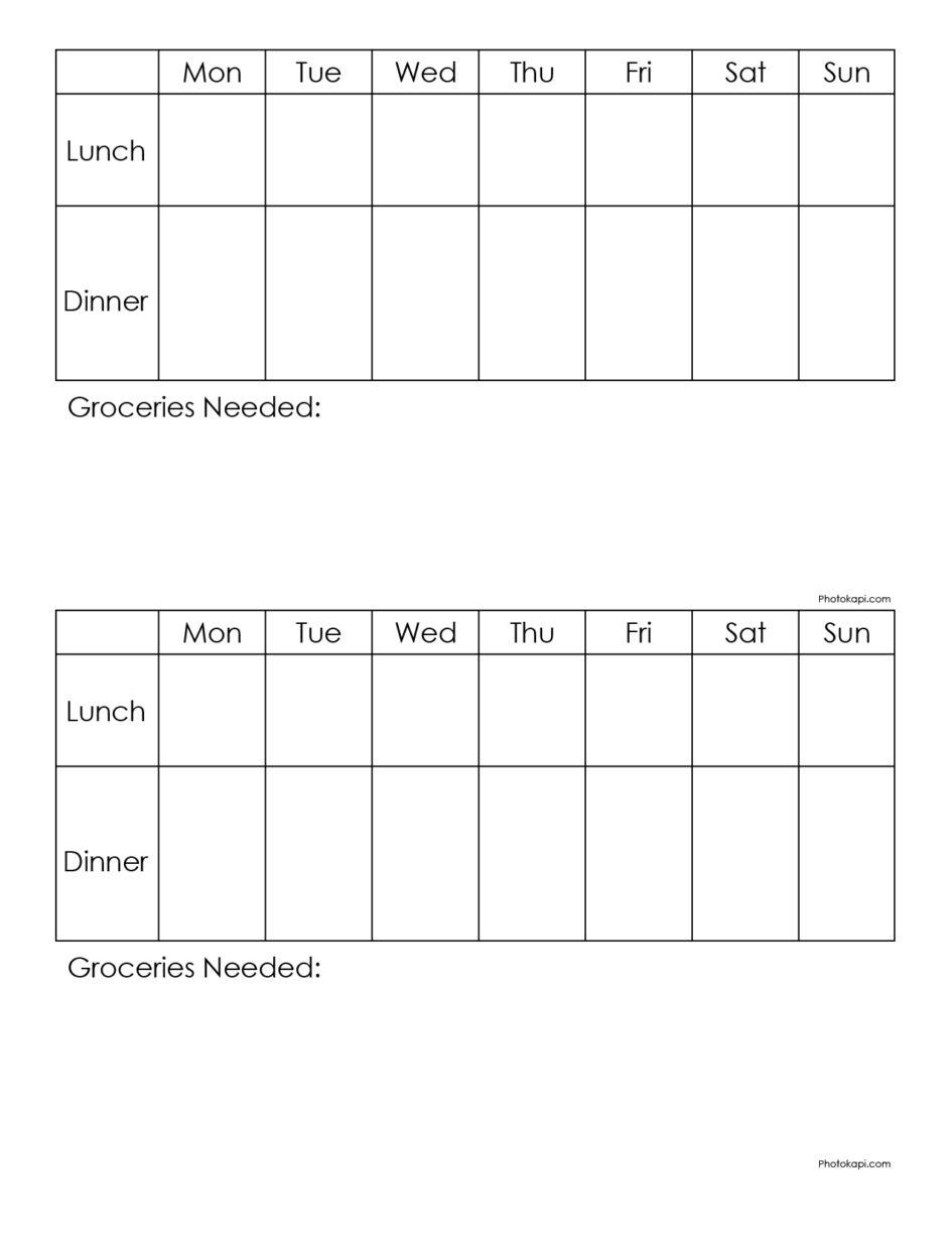 Weekly Menu Planner | Photokapi.com